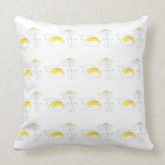 Lemon Daisy Modern Kitchen Dining Yellow White 2 Throw Pillow