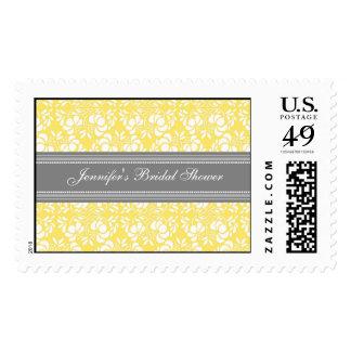 Lemon Damask Bridal Shower Wedding Stamps