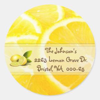 Lemon design Return Address Classic Round Sticker