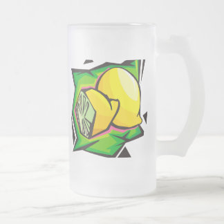 Lemon Disco Frosted Glass Beer Mug