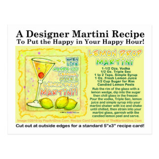 Lemon Drop Martini Recipe Postcard
