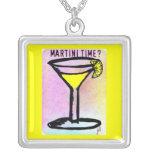 LEMON DROP MARTINI TIME PASTEL PRINT by Jill Square Pendant Necklace
