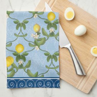 Lemon Espalier Leaf Blue French Country Floral Kitchen Towel