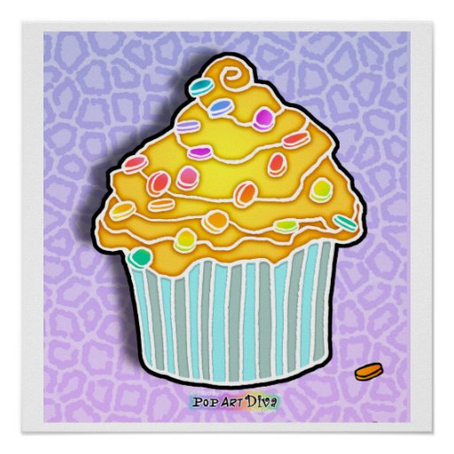Lemon Frosted Blue Orchid CUPCAKE POSTER