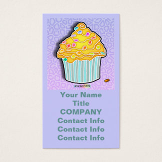 Lemon Frosted CUPCAKE BUSINESS CARDS in Lavender