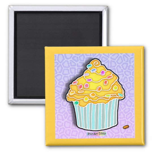 Lemon Frosted CUPCAKE MAGNET