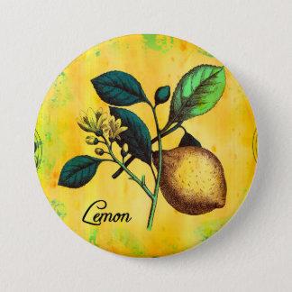 Lemon Fruit Flowers Leaves Vintage Botanical Button