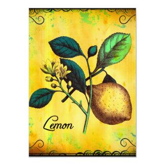 Lemon Fruit Flowers Leaves Vintage Botanical Card