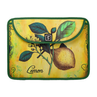 Lemon Fruit Flowers Leaves Vintage Botanical Sleeve For MacBooks