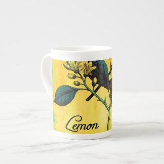 Lemon Fruit Flowers Leaves Vintage Botanical Tea Cup
