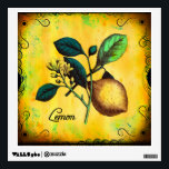 """Lemon Fruit Flowers Leaves Vintage Botanical Wall Decal<br><div class=""""desc"""">This vintage illustration is of a lemon on a branch complete with lemon flower and leaves. Brightly colored in yellow and given a grungy look with a swirly border and the word Lemon in an old fashioned script. A great look for kitchen and dining accessories. Designed by Lark Designs</div>"""
