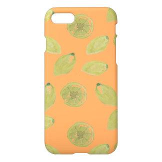 Lemon Fruits Sliced and Whole Lemons on Orange iPhone 7 Case