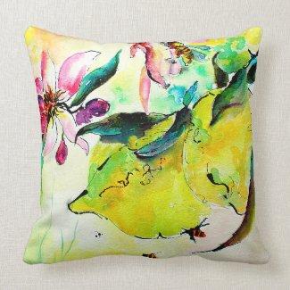 Lemon Garden and Bees Watercolor Pillows