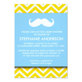 "Lemon gold gray chevron mustache baby boy shower 5"" x 7"" invitation card"
