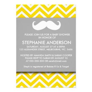 Lemon gold gray chevron mustache baby boy shower custom invite