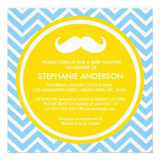 Lemon gold gray chevron mustache baby boy shower invitations