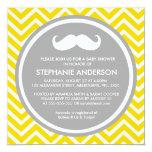Lemon gold gray chevron mustache baby boy shower announcements