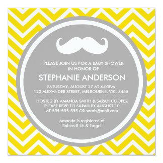 "Lemon gold gray chevron mustache baby boy shower 5.25"" square invitation card"