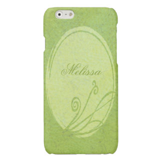 Lemon Grass Personalized Name Spring Green Glossy iPhone 6 Case
