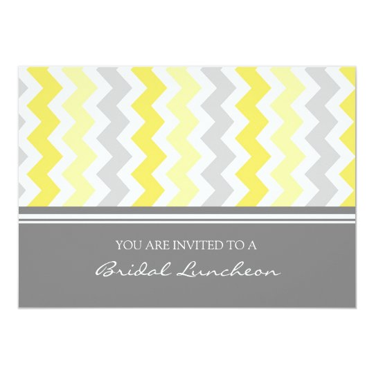 Lemon Gray Chevron Bridal Lunch Invitation Cards