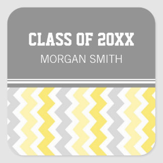 Lemon Gray Chevrons Graduation Custom Year Name Square Sticker
