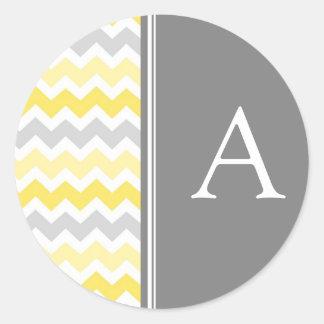 Lemon Gray Chevrons Monogram Envelope Seal Classic Round Sticker