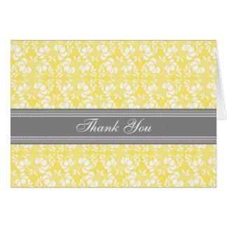 Lemon Gray Damask Baby Shower Thank You Card