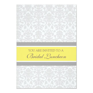 "Lemon Gray Damask Bridal Lunch Invitation Cards 5"" X 7"" Invitation Card"
