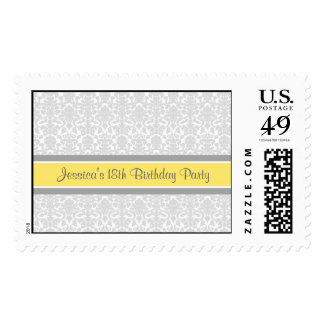 Lemon Gray Damask Custom Year Name Birthday Stamp