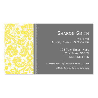 Lemon Gray Damask Mom Calling Cards Double-Sided Standard Business Cards (Pack Of 100)