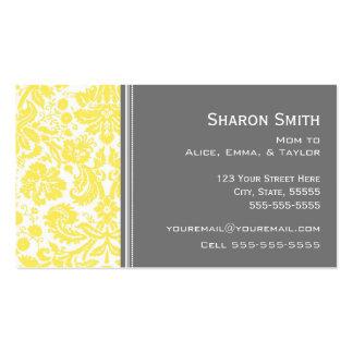 Lemon Gray Damask Mom Calling Cards Business Card Templates