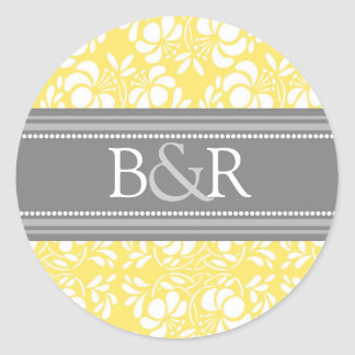 Lemon Gray Damask Monogram Envelope Seal