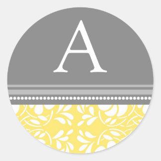Lemon Gray Damask Monogram Envelope Seal Classic Round Sticker