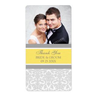 Lemon Gray Damask Photo Wedding Labels