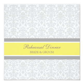 Lemon Gray Damask Rehearsal Dinner Party 5.25x5.25 Square Paper Invitation Card