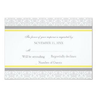 Lemon Gray Damask RSVP Wedding Card Personalized Invites
