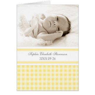 Lemon Gray Gingham Photo Birth Announcement