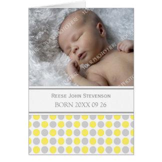 Lemon Gray It's a Boy Photo Birth Announcement