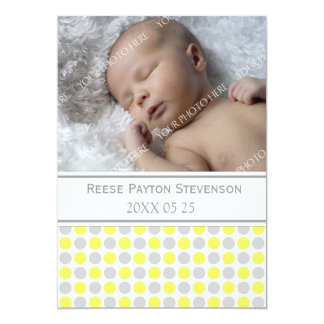 Lemon Gray Template New Baby Birth Announcement