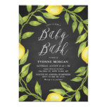 Lemon Greenery Wreath Chalkboard Baby Shower Bash Invitation
