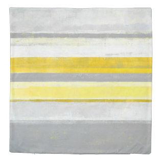 'Lemon' Grey and Yellow Abstract Art Duvet Cover at Zazzle