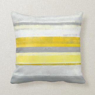 'Lemon' Grey and Yellow Abstract Art Pillow