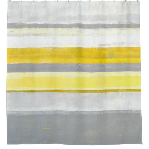 grey and yellow abstract art shower curtain u0027