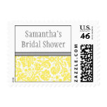 Lemon Grey Damask Bridal Shower Wedding Stamp