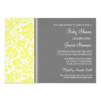 "Lemon Grey Damask Custom Baby Shower Invitations 5"" X 7"" Invitation Card"