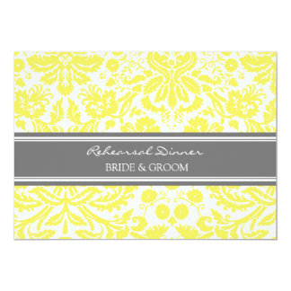 Lemon Grey Damask Rehearsal Dinner Party 5x7 Paper Invitation Card