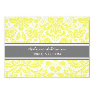 Lemon Grey Damask Rehearsal Dinner Party 5x7 Paper Invitation Card