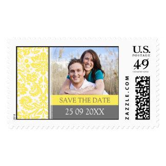 Lemon Grey Damask Save the Date Wedding Stamps