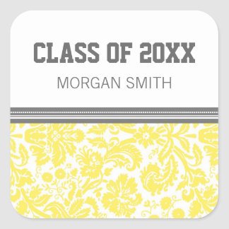 Lemon Grey Pattern Graduation Custom Year Name Square Sticker