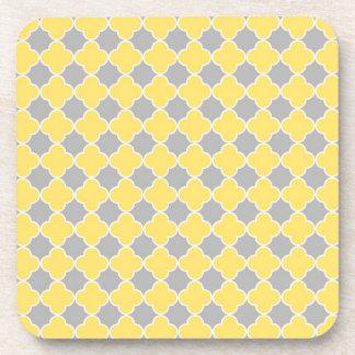 Lemon Grey Quatrefoil Pattern Coaster Set